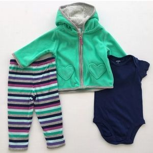 ❄️NEW Carters Baby Girls Size 6M Cute 3-piece Set